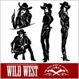 Sylwetki Zachodni Cowgirls również zwrócić corel ilustracji wektora Obraz Stock