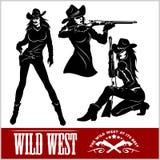 Sylwetki Zachodni Cowgirls również zwrócić corel ilustracji wektora Obraz Royalty Free