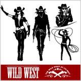 Sylwetki Zachodni Cowgirls również zwrócić corel ilustracji wektora Zdjęcia Royalty Free