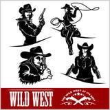 Sylwetki Zachodni Cowgirls również zwrócić corel ilustracji wektora Zdjęcia Stock