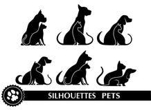 Sylwetki zwierzęta domowe ilustracja wektor
