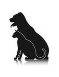 Sylwetki zwierzęta domowe, kota pies ilustracja wektor