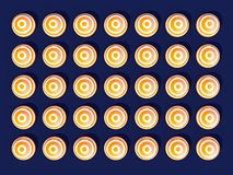 A symétriquement côte à côte distribué les sphères colorées blanches et jaunes sur le fond bleu-clair illustration de vecteur