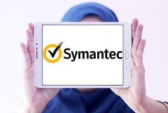 Symantec company logo. Logo of symantec company on samsung tablet holded by arab muslim woman. Symantec is an American software company. The company produces Royalty Free Stock Photo