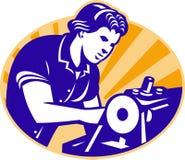 Symaskin för arbetare för kvinnligmaskinistSeamstress stock illustrationer