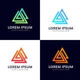 Symb значка компании знака логотипа полигона абстрактных треугольников геометрическое Стоковое Фото
