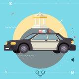 Symbo för symbol för polisbil lagligt utförande av rättvisa Royaltyfria Foton