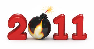 Symbol of 2011 year. 2011 with a sparkle light at bomb Royalty Free Stock Images