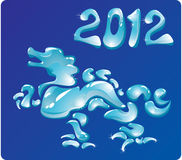 Symbol 2012 Dragon. Is made of water drops Stock Images