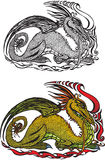 Symbol 2012 dragon. (color and black and white picture Royalty Free Illustration
