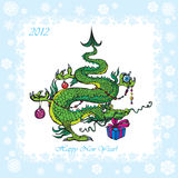 Symbol 2012 funny dragon. New Year postcard with Christmas-tree - symbol 2012 funny dragon Royalty Free Stock Photo