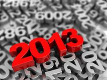 Symbol 2013. 3d symbol of new year 2013 lying on grey numbers Royalty Free Stock Photos