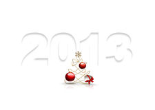 Symbol of 2013 year. Figures of paper with a shadow and a Christmas tree on white background Stock Image
