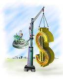 Symbol. The big mark of dollar relocatable with the help of the elevating crane Royalty Free Stock Image