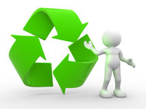 Symbol. 3d people - man, person and recycle symbol Royalty Free Stock Photos
