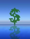 $ Symbol. A puzzle dollar sign stands like a monument Royalty Free Stock Image