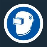 Symbol-Abnutzungs-Schwei?ens-Sturzhelm auf schwarzem Hintergrund, Vektor llustration lizenzfreie abbildung