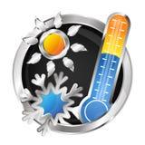 Symbol air conditioner vector. Sun, snowflake and thermometer symbol air conditioner Royalty Free Stock Image