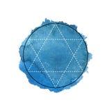 Symbol alchemia i święta geometria na błękitnym akwareli tle royalty ilustracja