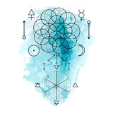 Symbol of alchemy and sacred geometry on the blue watercolor background. Linear character illustration for lines tattoo Royalty Free Stock Images