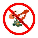 Symbol: All Shellfish-Free Text. Prohibition symbol for all shellfish-free food for those with shellfish intolerance with explicit text Royalty Free Illustration