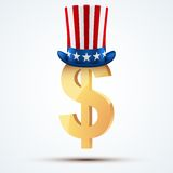 Symbol of the American dollar in Uncle Sam hat Stock Images