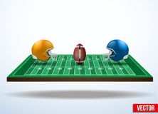 Symbol of a american football game on field. Symbol of a american football game. Helmets and ball on field in three-dimensional space. Vector illustration stock illustration