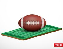 Symbol of a american football game and field. Symbol of a american football and field game in three-dimensional space. Vector illustration royalty free illustration