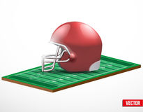 Symbol of a american football game and field. Symbol of a american football and field game in three-dimensional space. Vector illustration stock illustration