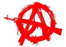 Symbol anarchy in circle and machine gun Stock Image