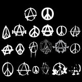 Symbol anarchy peace logo pack isolated vector. Symbol anarchy peace logo black white Royalty Free Stock Image