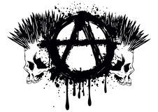 Symbol anarchy and two skulls Stock Photography