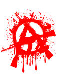 Symbol anarchy. Vector illustration gun machines and red symbol anarchy for design tattoo or t-shirt Royalty Free Stock Images