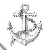 Symbol of anchor hand drawing vintage style. Isolated on white background Royalty Free Stock Images