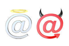 At symbol angel and demon, mail concept. 3D rendering. On white background Royalty Free Stock Images