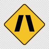 Symbol Approaching narrow bridge sign on transparent background. Approaching narrow bridge sign on transparent background royalty free illustration