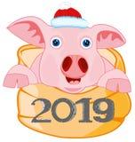 Symbol approaching year piglet in bag.Vector illustration. Symbol approaching new 2019 piglet peers out bag stock illustration