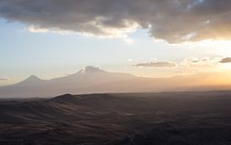 Mountain landscape. Armenia. Symbol of Armenia - Mount Ararat at sunset Royalty Free Stock Photos