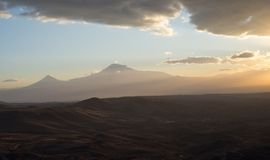 Mountain landscape. Armenia. Symbol of Armenia - Mount Ararat at sunset Stock Image