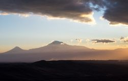 Mountain landscape. Armenia. Symbol of Armenia - Mount Ararat at sunset Royalty Free Stock Photography