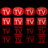 Symbol of As Seen on TV, red at black background Stock Photo