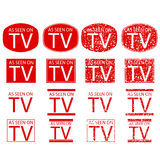 Symbol of As Seen on TV, red isolated on white Royalty Free Stock Photos