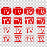 Symbol of As Seen on TV, red at transparent effect background Royalty Free Stock Photos