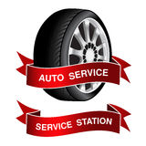 Symbol of auto service - sign, icon, sticker Stock Photo