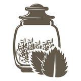 Symbol av den glass kruset med viktte med mintkaramellanstrykning eller arom vektor illustrationer