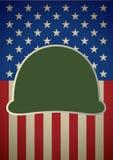 Symbol av den militära hjälmen på USA flaggan vektor illustrationer