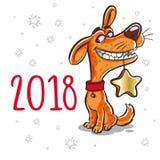 Symbol av det kinesiska nya året 2018 År av hunden Design för royaltyfria bilder