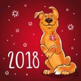 Symbol av det kinesiska nya året 2018 År av hunden Design för Arkivbilder