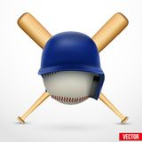 Symbol av en baseball. Hjälm, boll och två slagträn. Vektor. Royaltyfri Foto