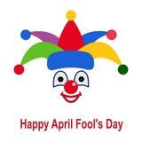 Symbol av en clown i en färgrik hatt royaltyfri illustrationer